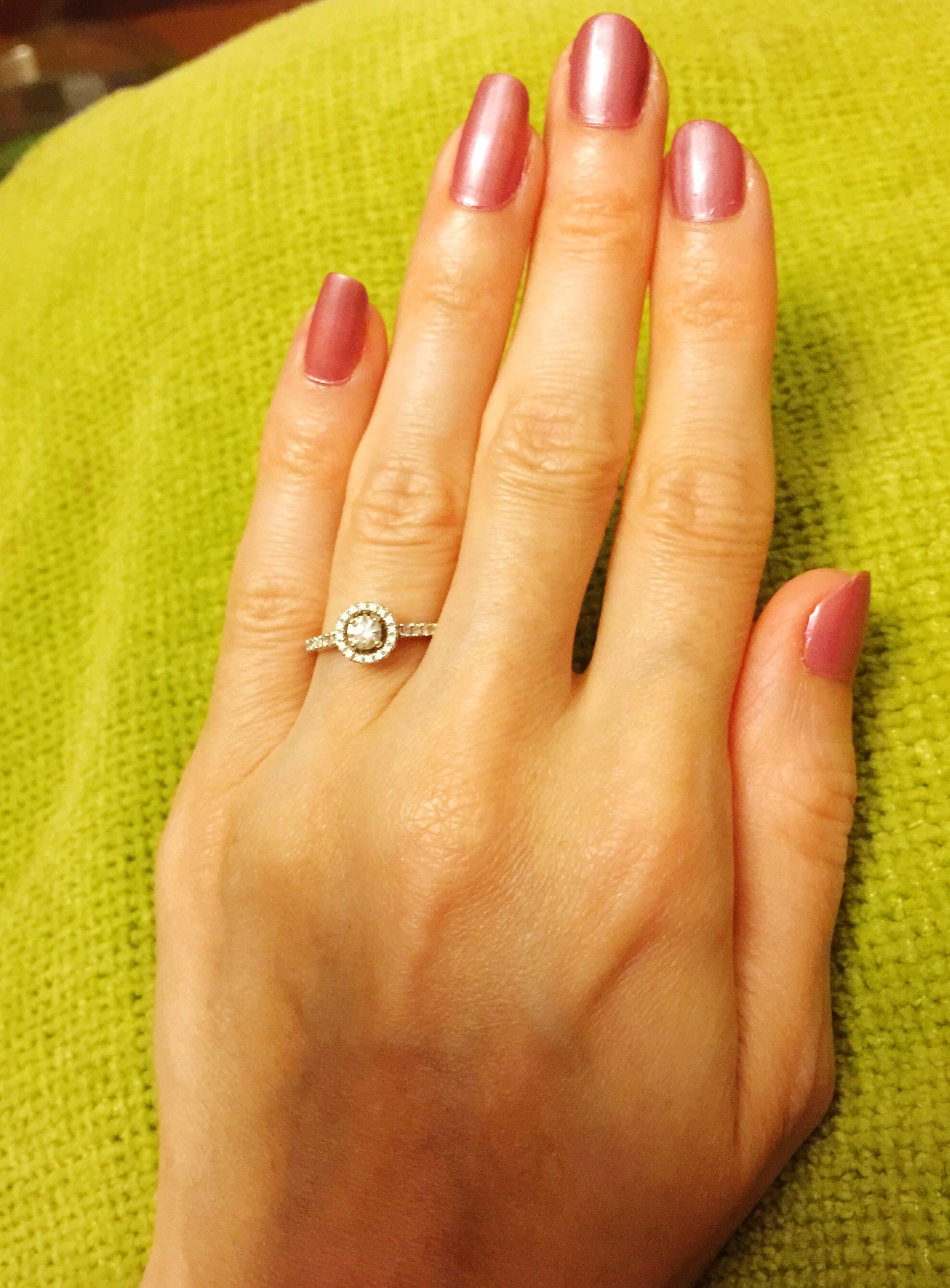 person, part of, human finger, holding, cropped, close-up, indoors, unrecognizable person, palm, nail polish, showing, personal perspective, ring, lifestyles, fingernail, high angle view