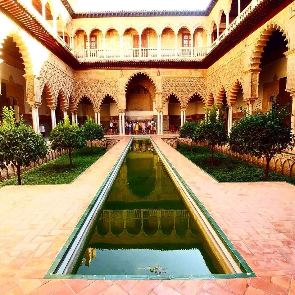Architecture Built Structure Building Exterior Fountain Architectural Column Water Alcazar Sevilla Travel Destinations SPAIN Outdoors Sky Day