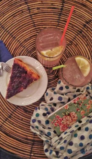 Table Day Close-up Drink Healthy Eating High Angle View Plate Indoors  No People Food And Drink Food Drinking Glass Freshness Picnic Pinklemonade Cake♥