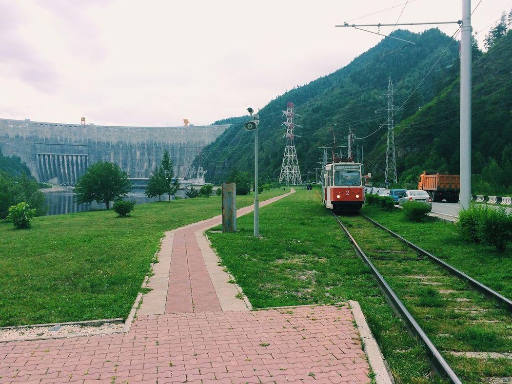 Dam Enisei Green Color Hydro Power Station Mountain Public Transportation Sayany Train - Vehicle Yenisei River Hakassia