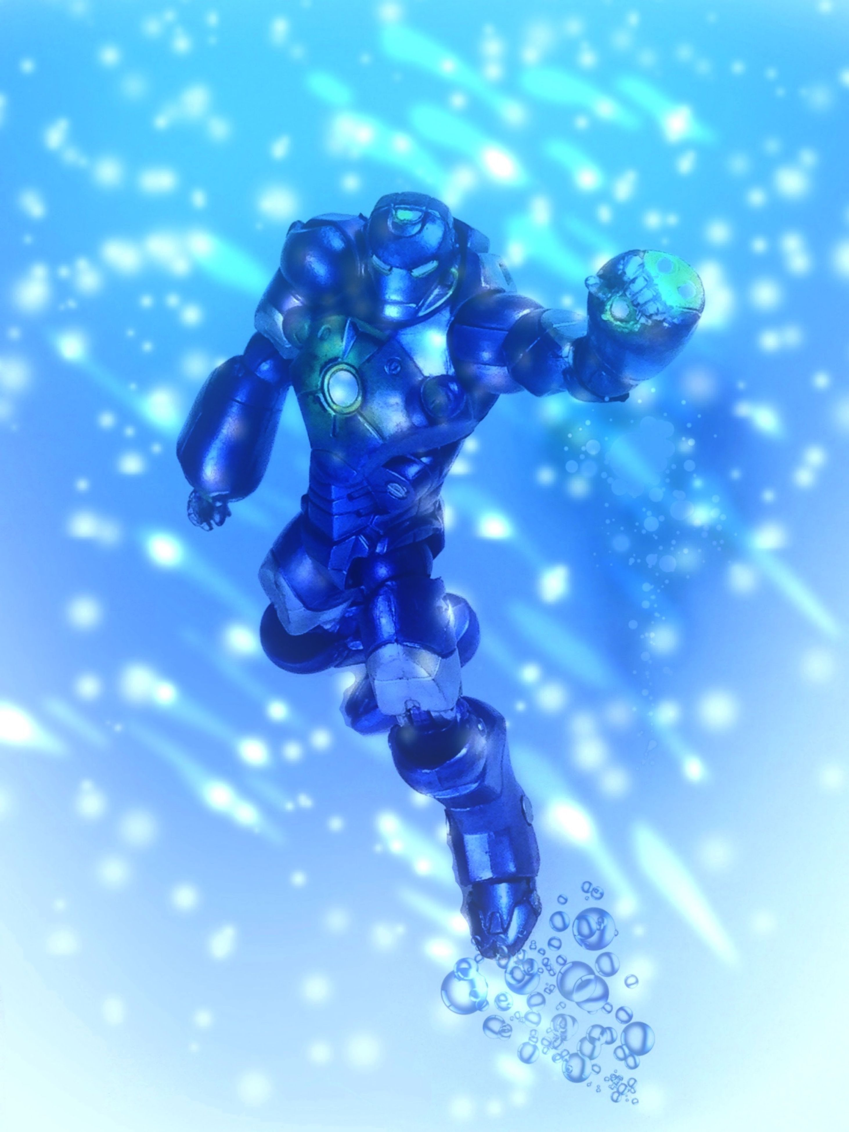 blue, water, close-up, focus on foreground, drop, day, wet, reflection, outdoors, no people, bubble, human representation, low angle view, splashing, nature, art and craft, sculpture, sky, transparent, selective focus