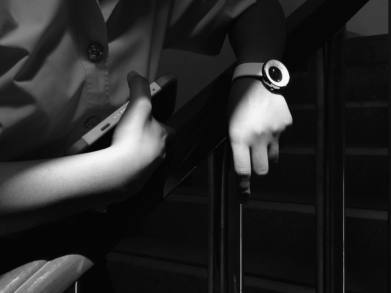 White and black Blackandwhite Shadow Sunlight Hand Wristwatch Wrist Watch Girl Structure LINE Bar EyeEmNewHere