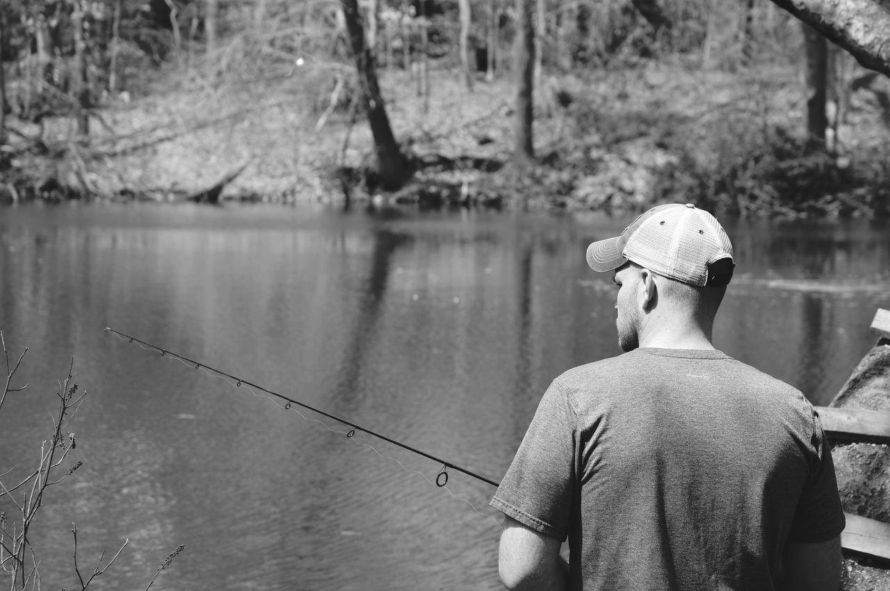 Black And White Blackandwhite Monochrome Fishing Fisherman Man Just Hanging Out My Love❤