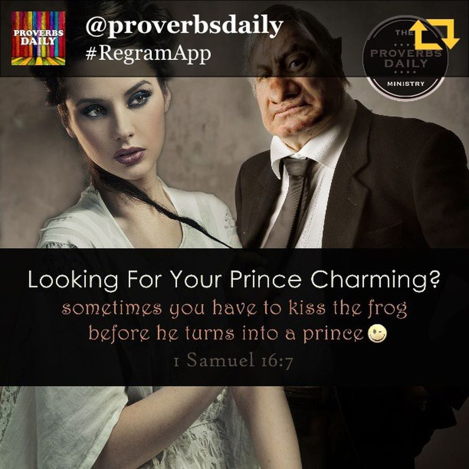 """RG @proverbsdaily: Beauty & Beast ...for the LORD seeth not as man seeth; for man looketh on the outward appearance, but the LORD looketh on the heart (1 Samuel 16:7) - These days there is a LOT put on how a guy and girl look in order to even have a chance of dating or even being friends. Some call it Bieber Fever Syndrome Effect where even older women want little young boys that look like girls LOL!!! But I also know a lot of people who don't fall into the standard of """"beauty"""" by the world's standards. They aren't magazine cover material, right? Too ugly, to fat, to whatever... but some of the best guys I know aren't models but they are prince material and would make any girls dream come true of being loved, romantic, faithful provider and loving father and far beyond what the player dude can give her, but ... most girls want the """"bad"""" boy and love takes 2nd place to lust and desire. Don't get me wrong, we're human and we have to have chemistry, what I'm saying is most guys that might be kings, never get the chance to show the girl his heart because she's looking for the fantasy, the """"disney magic"""" ;) Right? Same with girls, there are some truly godly princesses that get over looked because of the same reasons. So, this post is dedicated to all the frogs out there that faithfully strive to do right and are princes and princesses in their hearts and souls. That boy or girl you think is just a 'cool' friend, maybe you should look closer at the way they look at you and maybe listen to what they see when they do... You long to be seen, heard, to be known, to be loved, to be understood...? Maybe you are missing the very one that is looking into your soul every time they look into your eyes... Old and young, ugly and beautiful, fat and skinny, short and tall, ... this is dedicated to all the beauty and beast out there wishing on a star and praying for their special someone. Proverbsdaily Proverbs Bible BIBLEVERSE Wisdom BeautyBeast Beauty Dating Relationship Love regrama"""