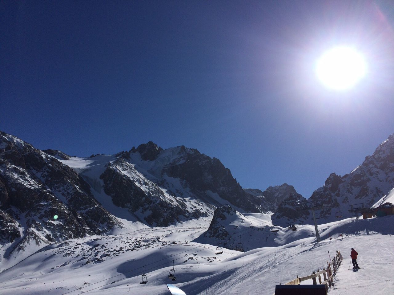 Scenic View Of Snow Covered Mountains Against Sky On Sunny Day