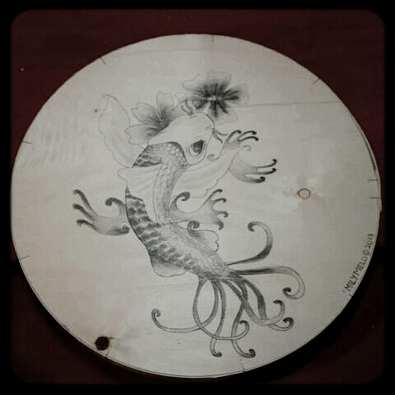 carpe chinoise réalisée sur boîte en bois! promarker à vernir! temps : 2 heures Drawing ArtWork Myartbook Painting