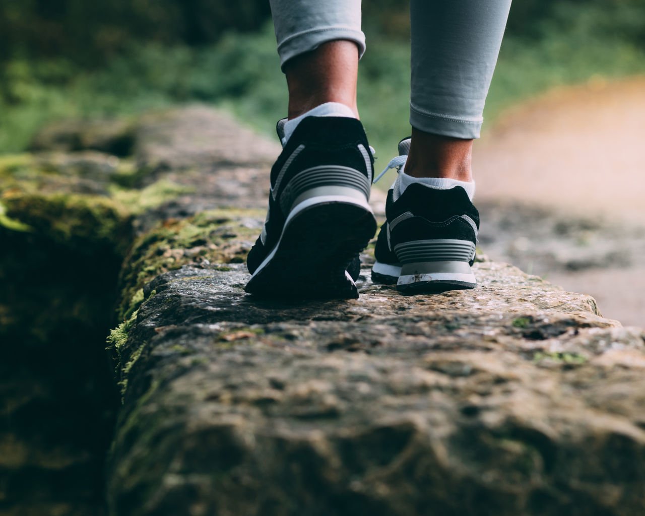 Fitness Focus On Foreground Foot Footpath Human Foot Legs Low Angle View Low Section Outdoors Park Sneakers Sport Standing The Way Forward