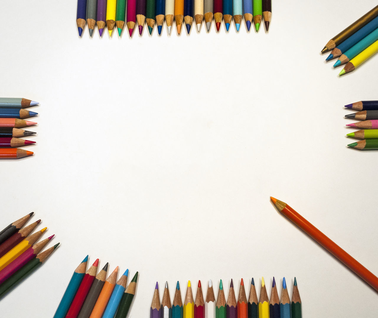 Various Colored Art Pencils Around Blank Sign Art Art, Drawing, Creativity Close-up Colored Pencil Crayon Education Eduction Group Of Objects Large Group Of Objects Multi Colored No People Pen Pencil Shool Still Life Studio Shot Variation White Background