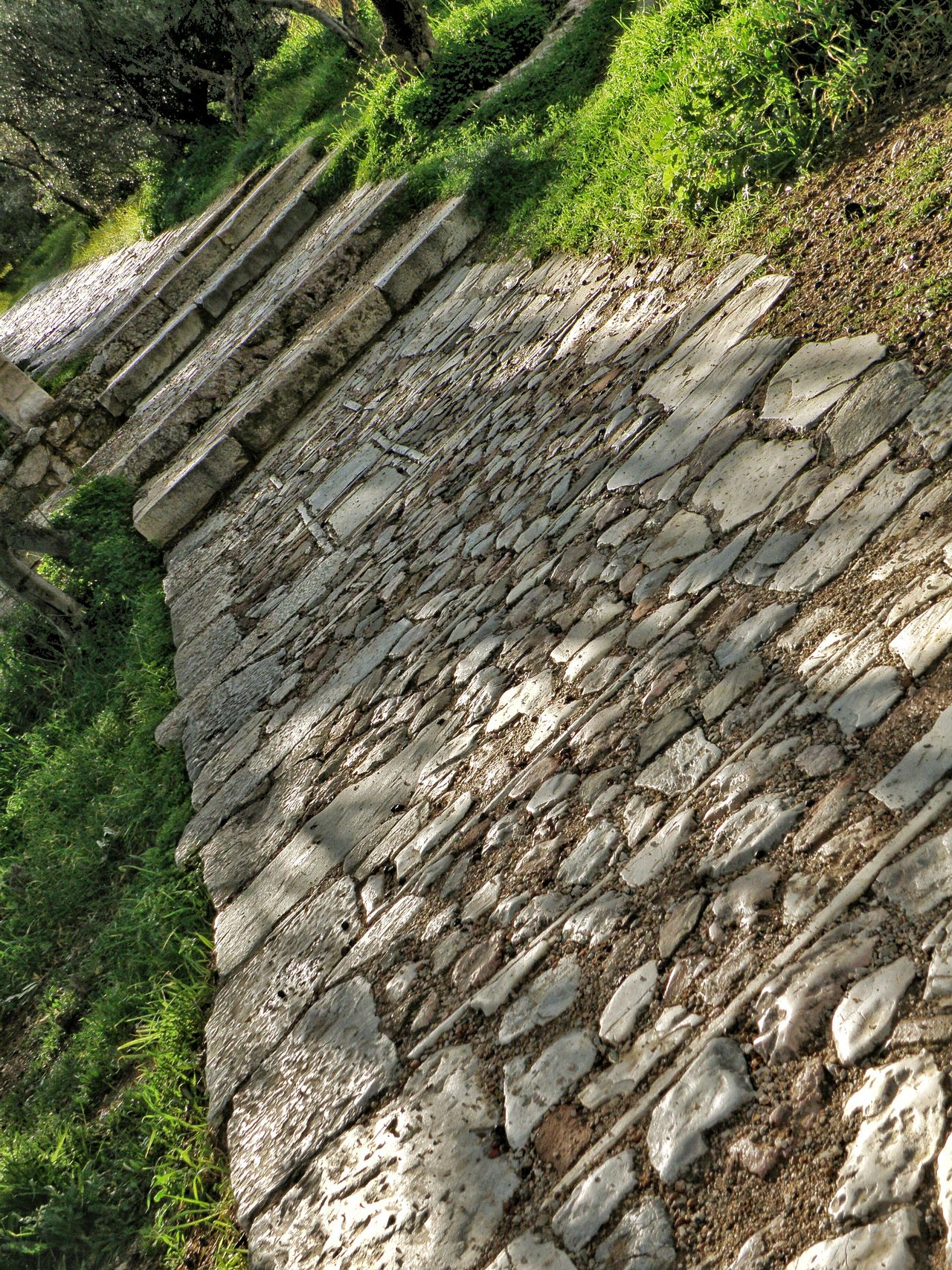 Stone Masonry Stone Pavement Pathway Stone Material Hiking Filopapou Mousson Hill Athens, Greece Athens