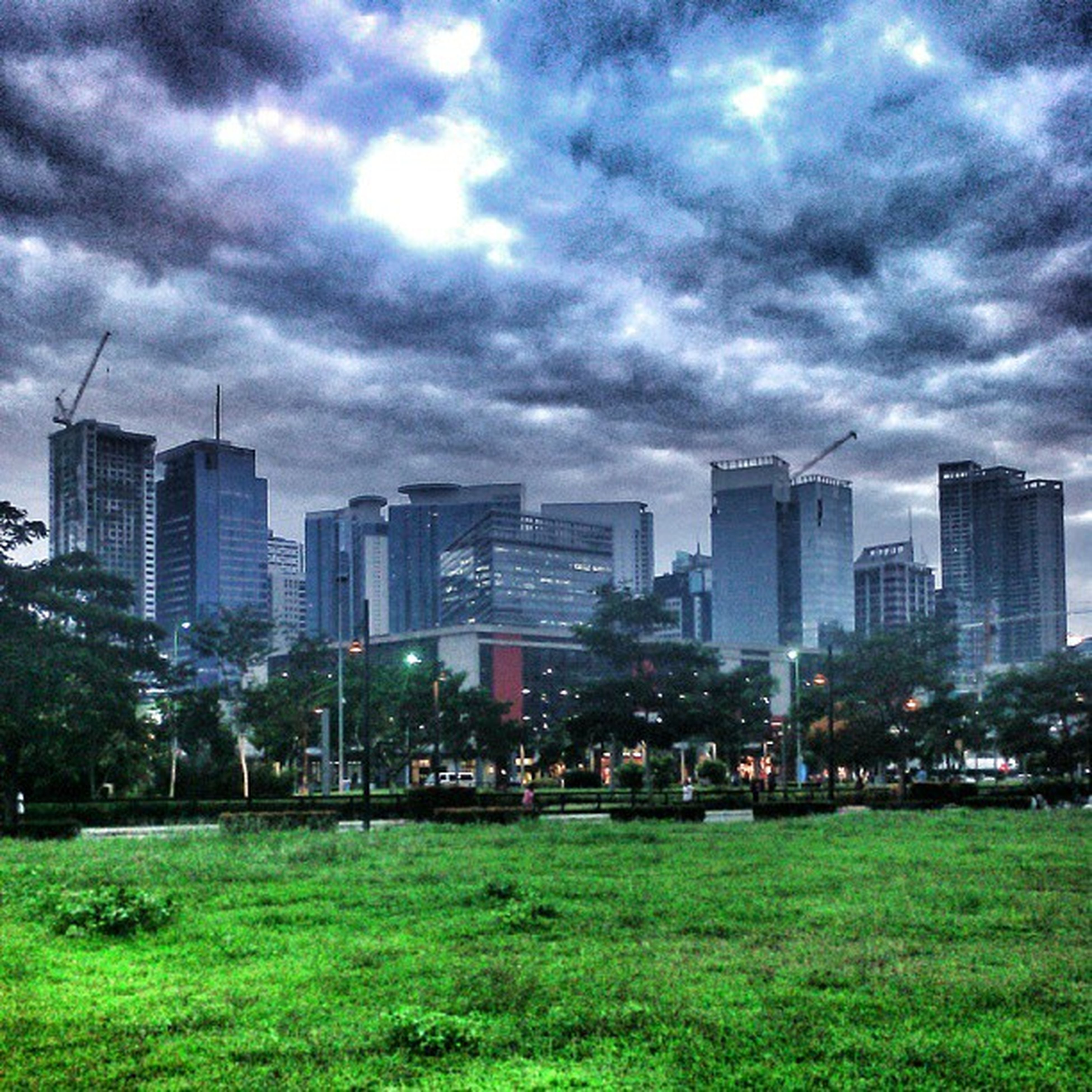 building exterior, city, sky, architecture, cloud - sky, built structure, cloudy, cityscape, skyscraper, modern, grass, urban skyline, office building, cloud, tower, weather, growth, tall - high, skyline, city life