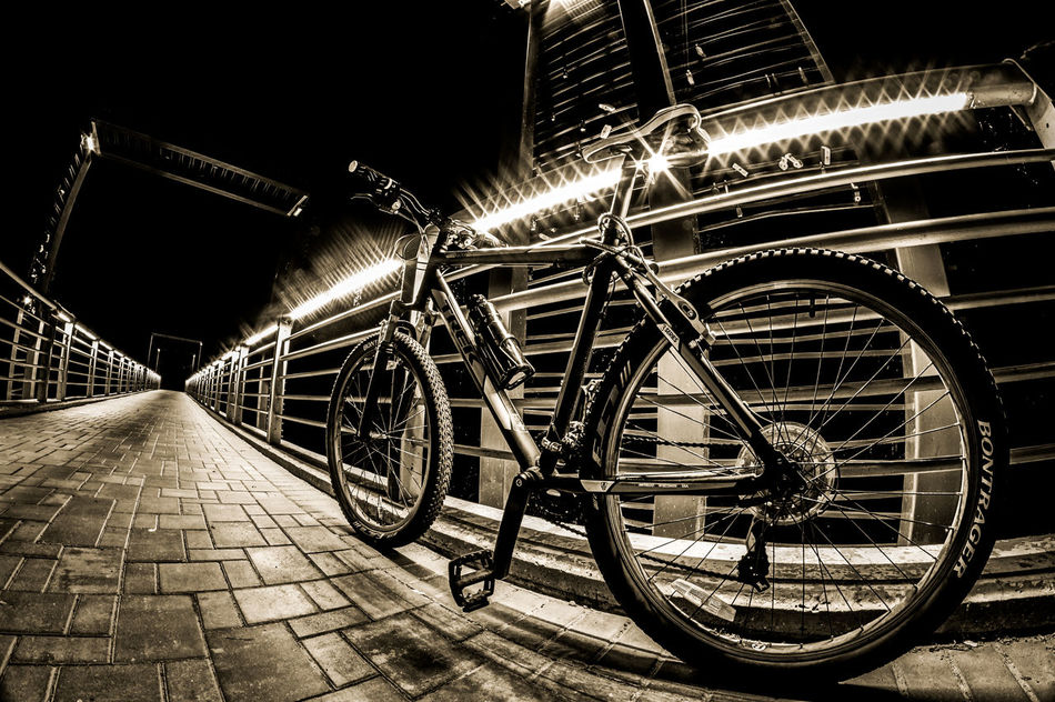 Bicycle ride in Victory Park. Transportation Night Bridge - Man Made Structure Street Photography New Talent This Week Beauty In Nature No People Landscspe Minsk Belarus Landscape_photography Landscape Road Dark Monochrome Photography CyclingUnites