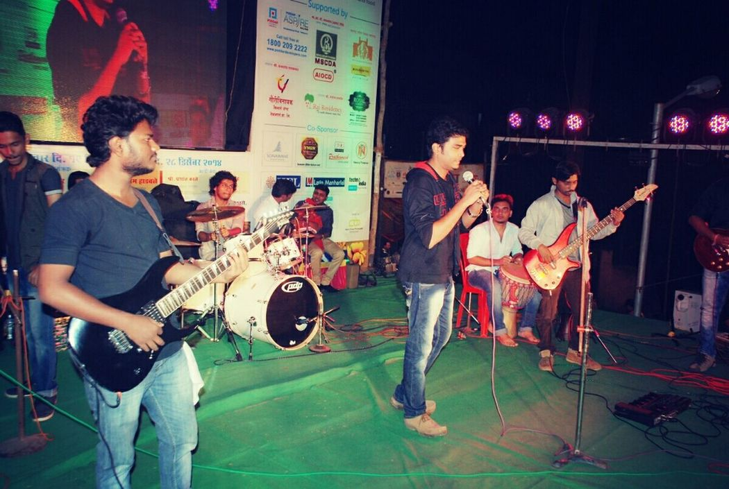 Gig Live Concert Looking Handsome One Of My Favorite Songs Singing For A Fan Guitarist Drummer Chorus Me As Leading Singer Loveyouguys