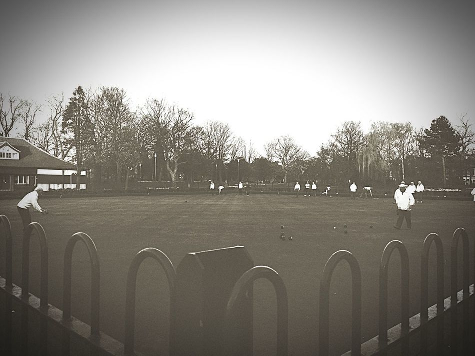 Bowling Lawn Bowls Lawn Bowling Local Park Wallsend Vintage Filter Filters Trees And Sky Daily Life Blackandwhite Photography Sepia_collection Trying New Things Trees