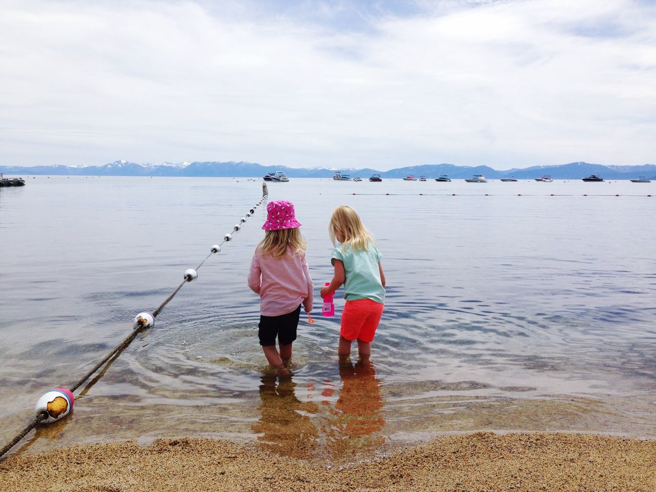 Girls Cousins  Sisters Friends Childhood Water Lake Lake Front Vacation Lake Tahoe Incline Village Nevada California Sierra Nevada Mountains