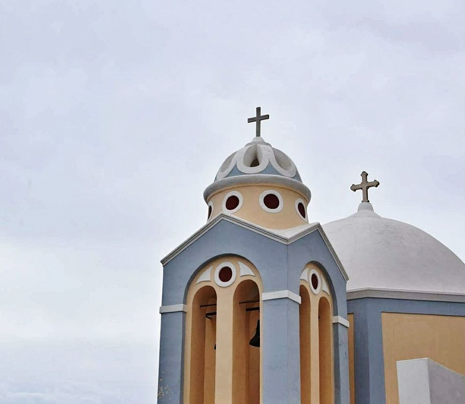 Santorini island .Greece Religion Spirituality No People Bell Tower - Tower Cross Bell Dome Architecture Outdoors Travel Greece EyeEmNewHere 3XSPUnity EyeEm Gallery Eyeemphotography EyeEm Best Shots Architecture Santorini Picsoftheday Santorini Island Built Structure Travel Destinations Sky Photography Hellas
