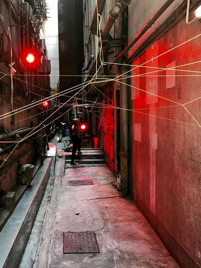 Illuminated Red Back Alley Event Art Installation Outdoors Textures And Surfaces Urban Geometry Pattern, Texture, Shape And Form Light And Shadow Architectural Design IPhoneography Building Exterior Lighting Effects Urban Lifestyle