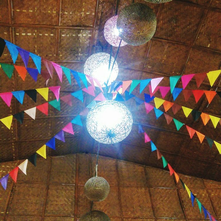 Multi Colored Pattern Low Angle View Indoors  No People Illuminated Architecture Close-up Day Masskarafestival2016