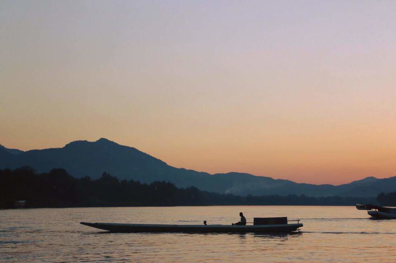 Water Nautical Vessel Sunset Mountain Beauty In Nature Tranquil Scene Outdoors No People Nature Silence Pedal Boat Gondola - Traditional Boat Astrology Sign Day Lungprabang LAO Laos, Lao Trip Laos Travel Mekong Mekong River