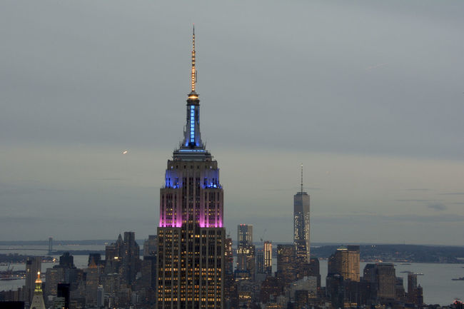 Watching sunset and Lights from the Top of the Rock in New York Architecture Blue City Cityscape Empire State Building Evening Famous Place From Above  Lights New York Night Perspective Pink Showcase: February Sunset The Tourist Top Of The Rock Tower World Trade Center