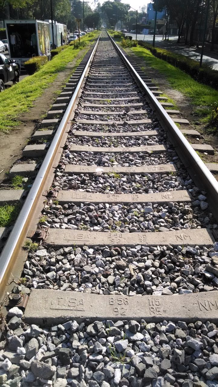 railroad track, rail transportation, railroad tie, gravel, rock - object, transportation, day, no people, outdoors, parallel, nature