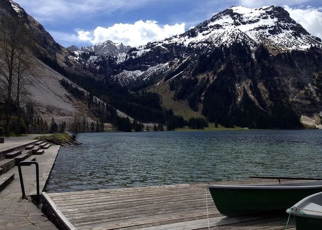 Colors Holiday Tannheimer Tal Tirol  Travel Alps Beach Beauty In Nature Boats Cloud - Sky Jetty Lake Landscape Moored Mountain Mountain Range Nature Scenics Snow Spring Tranquil Scene Tranquility Vilsalpsee Water Connected By Travel