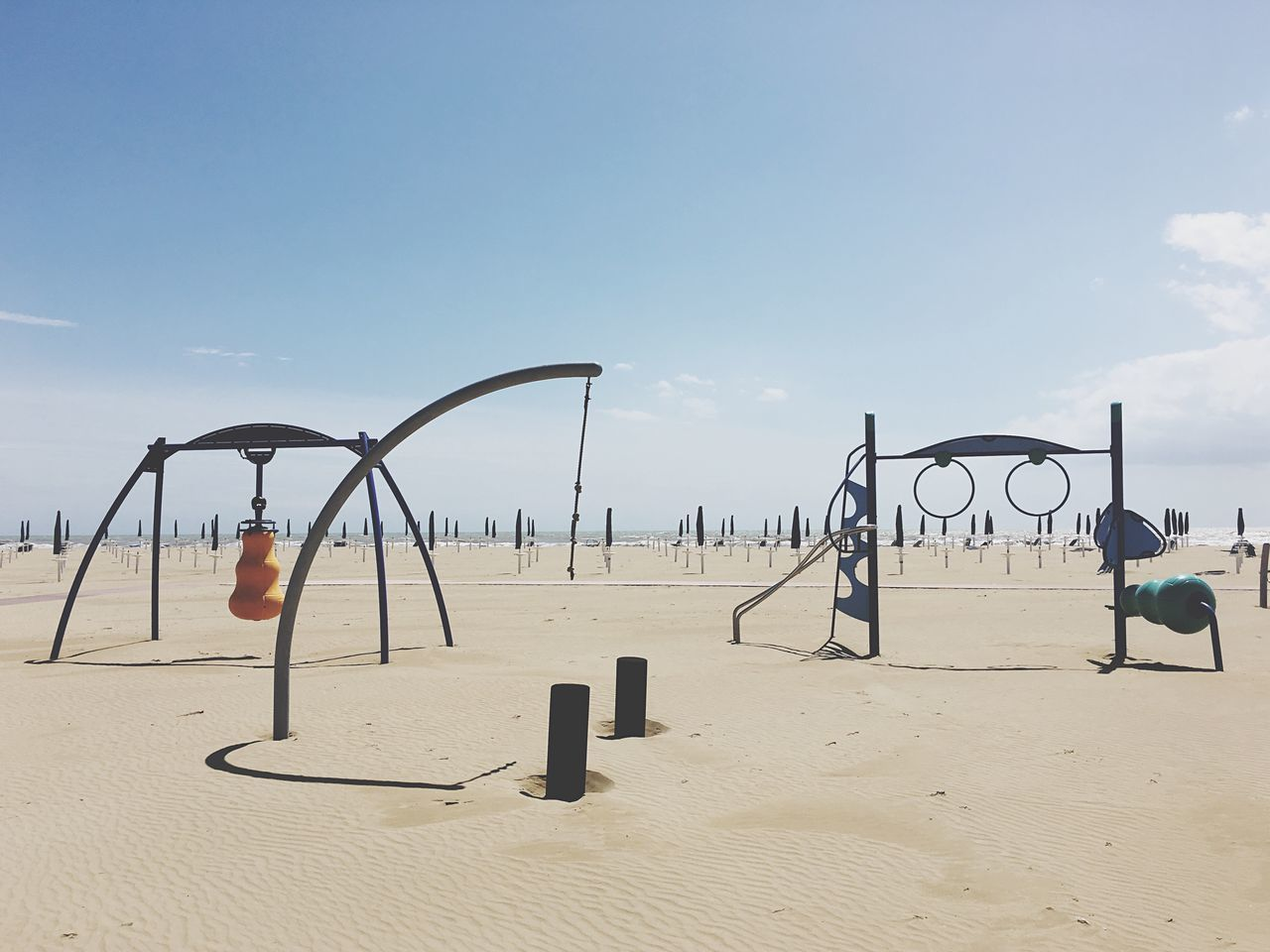 sand, beach, childhood, day, playground, outdoors, no people, sky, nature, sea, horizon over water, water, beach volleyball