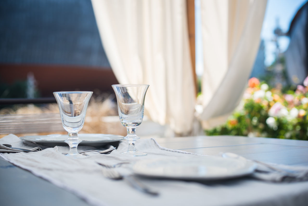 Close-up Day Drinking Glass Elegant Dress Evening Food And Drink Glasses Luxury No People Outdoors Relaxing Selective Focus Set Setting Table Table Wineglass