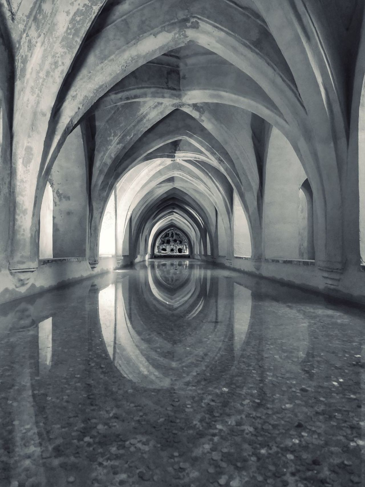 Water Reservoir in Alcazar Real Sevilla Architecture Reflection Water Reflection Refection Reflection_collection Andalucía España SPAIN Cellar Vanishing Point Wishing Well The Architect - 2017 EyeEm Awards BYOPaper! Live For The Story