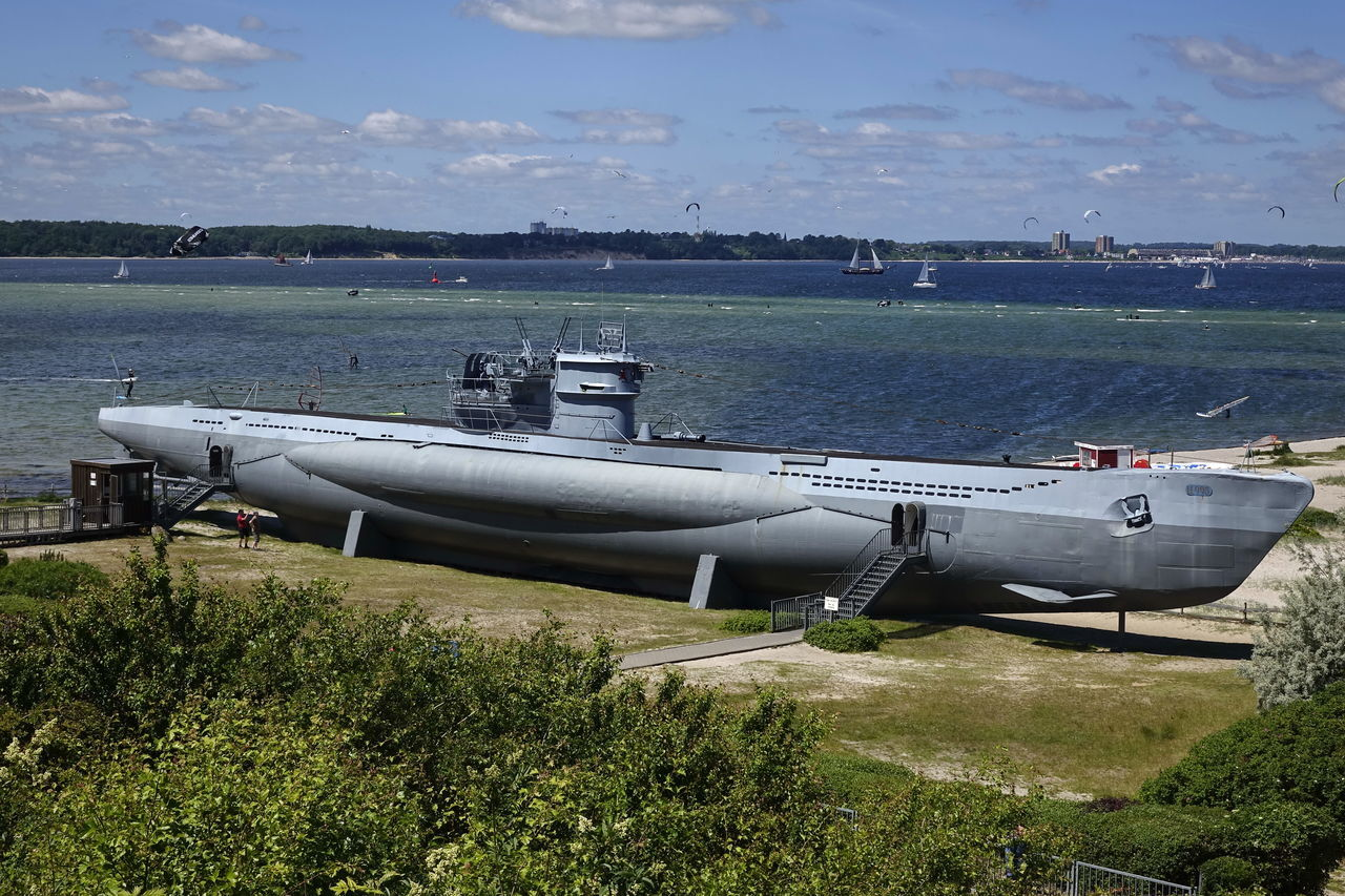 Museums U-Boot U 995 Air Vehicle Airplane Beauty In Nature Cloud - Sky Day Field Grass Military Mode Of Transport Nature Nautical Vessel No People Outdoors Scenics Sea Sky Submarine Transportation U-Boot U 995 Water