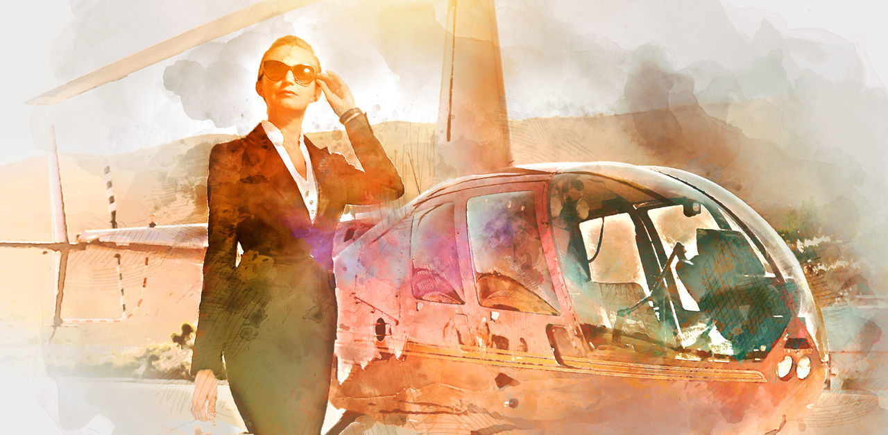 Elegant business woman near the helicopter. Business, success and luxury concept. Digital watercolor painting Adult Aircraft Airplane Airport Altered ArtWork Business Woman Career Caucasian Collage Computer Generated Digital Art Helicopter Illustration Lady Landing Field Lifestyle One Person Outdoors People Pilot Real People Sky Watercolor Woman