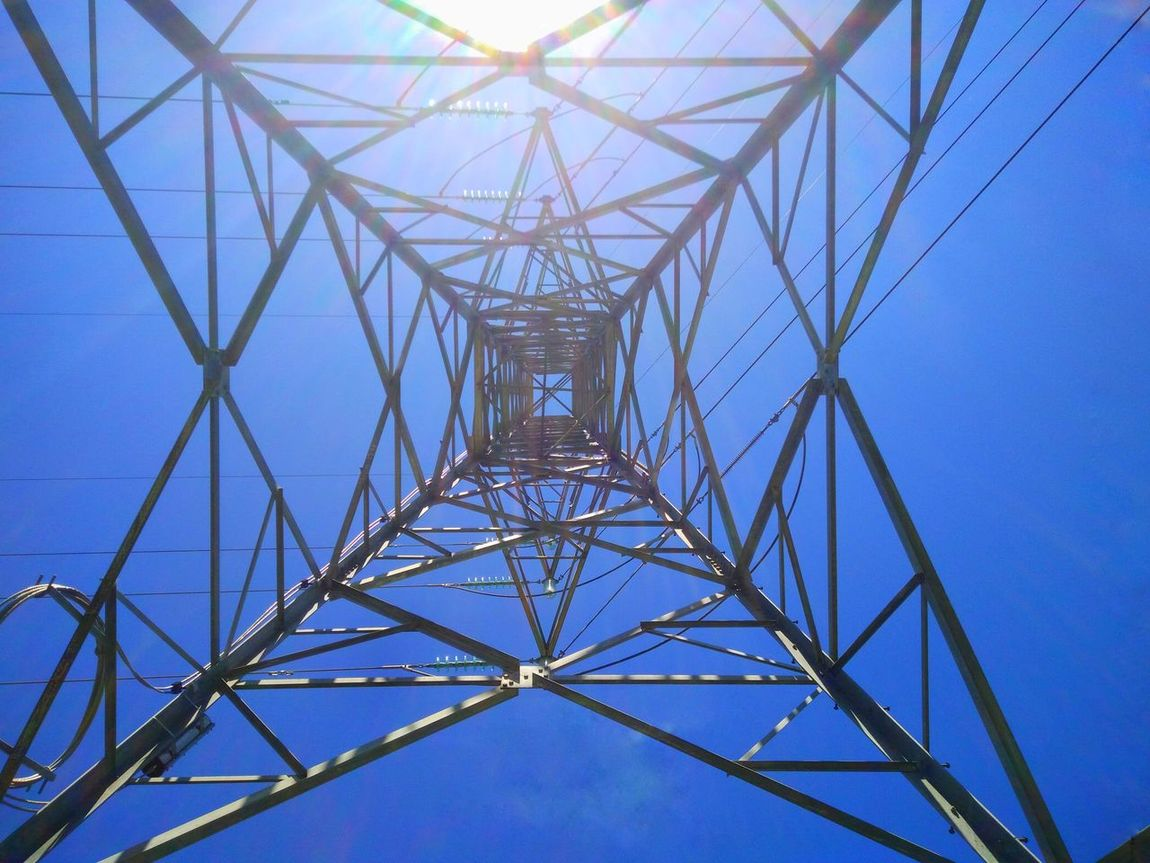 Connection Power Supply Electricity  Fuel And Power Generation Electricity Pylon Technology Low Angle View Directly Below Day Geometric Shape Complexity Outdoors Metal AdamTurnerPhotography