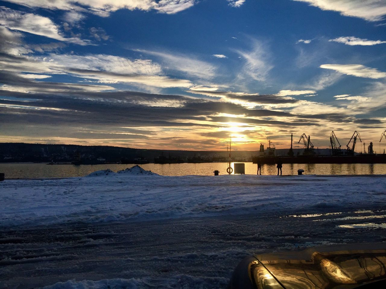 Cold Temperature Winter Sunset Beauty In Nature Snow Nature Sky Frozen Cloud - Sky Tranquility No People Water Ice Tranquil Scene Outdoors Scenics Sun Frozen Lake Cold Day