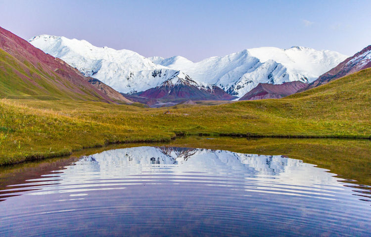 Kyrgyzstan Pamir Mountains Ripples Beauty In Nature Day Grass Lake Landscape Mountain Mountain Range Nature No People Outdoors Pamir Reflection Ripples In The Water Scenics Sky Snow Tranquil Scene Tranquility Travel Destinations Water Waterfront