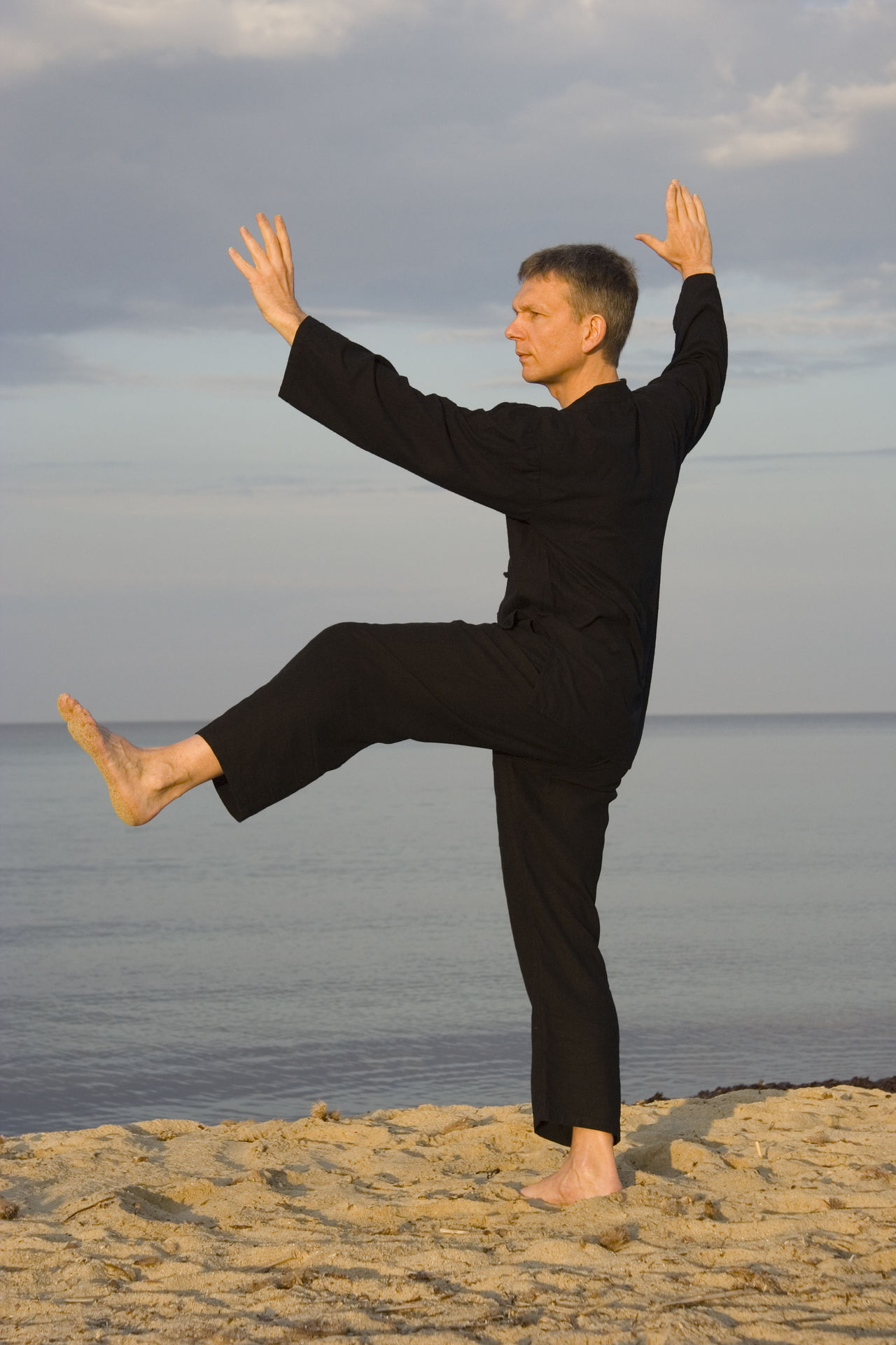 tai chi - posture kick with left heel - art of self-defense Barefoot Beach Chinese Culture Exercise Fitness Fitness Training Full Length Health Healthy Healthy Lifestyle Man Martial Arts Mature Men Moving One Man Only One Mature Man Only Qi Gong Sport Sports Clothing Tai Chi Tai Chi Chuan Taiji Taijiquan Water Zen