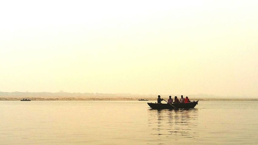 Boat Sea Ganga Ganga River Ganga Ghat People Water Taking Photos Phone