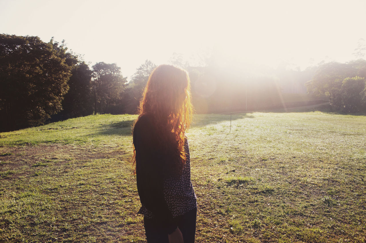 Beauty In Nature Casual Clothing Day Field Grass Grassy Growth Landscape Lifestyles Nature Non-urban Scene Outdoors Scenics Sky Standing Sun Sunbeam Tranquil Scene Tranquility Let Your Hair Down The Essence Of Summer The Magic Mission Uniqueness