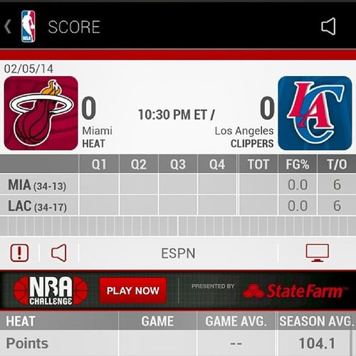 Are you serious? I forgot this game was coming on. Bout to put the movie on... SMH MIAHeat Vs LAClippers WAD3 J6mes Bosh Griffin Paul Jordan EastVsWest DaStaplesCenter NBA ESPN