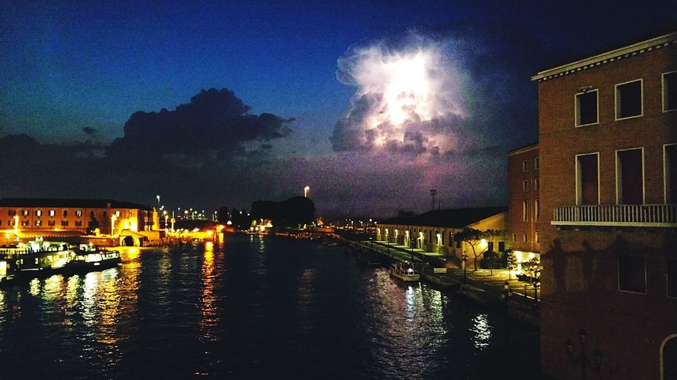 Venice, Italy Lightening Sky Lightening Lighteningstorm Lightening Cloud Riverscape Clouds And Sky Cloudscape Tranquility Outdoors Night Beauty In Nature Sky Building Exterior Boats And Clouds Boats Night Sky Clouds Cloud_collection  Scenics Nature European Union Euro 2016 European Architecture Europe_gallery