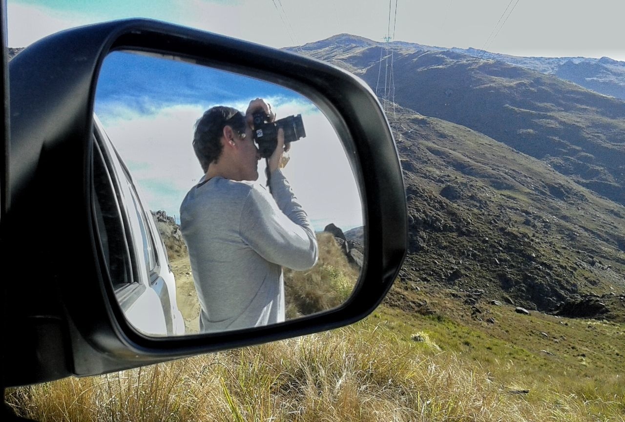 Mountains Car Photographing Transportation Photography Themes One Person Sky Adult Passenger