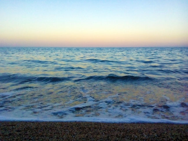 After Sunset Blue Horizon Over Water Relaxing Rippled Sea That Moment Waves