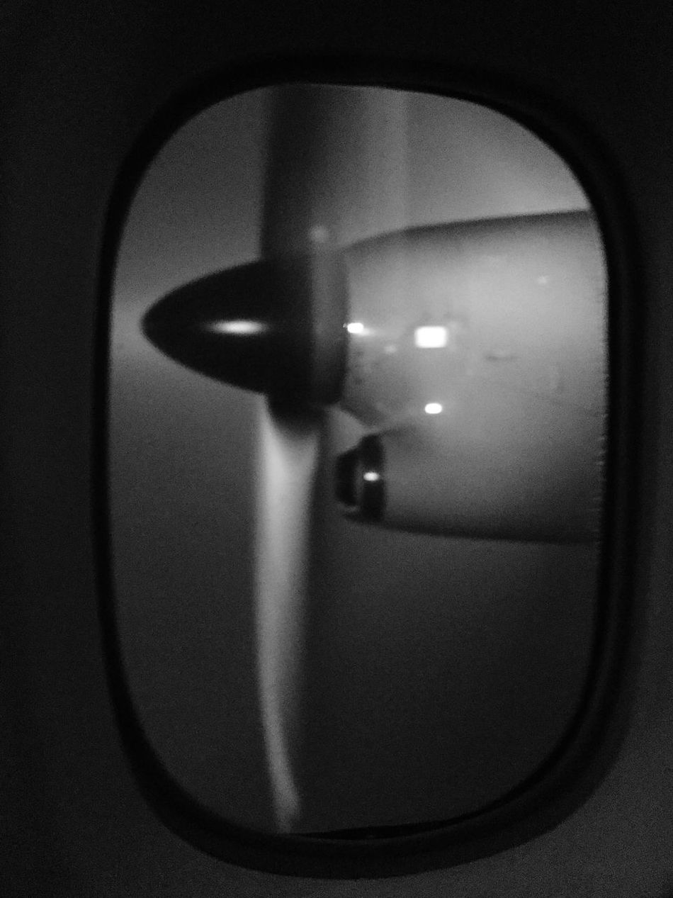 Blackandwhite Photography Blackandwhite Airplane Propeller Airplaneview Point Of View Flying Transportation Travel Night No People Window Spining Cloud Air Fog Visibility Over The City USA EyeEmNewHere Art Is Everywhere