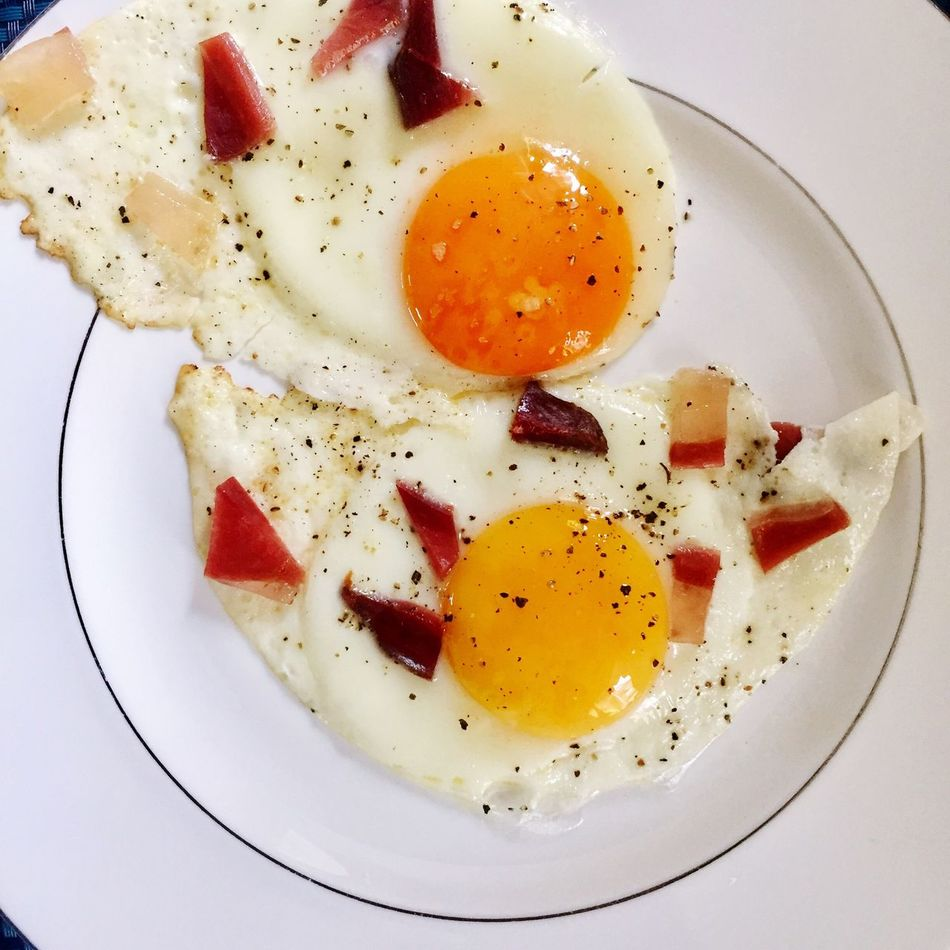 Eggs Egg Breakfast Food Egg Yolk Fried Egg Plate Food And Drink Pepper Pepper - Seasoning Sunny Side Up Fried Healthy Eating Indoors  Freshness Ready-to-eat Poached No People Black Peppercorn Close-up