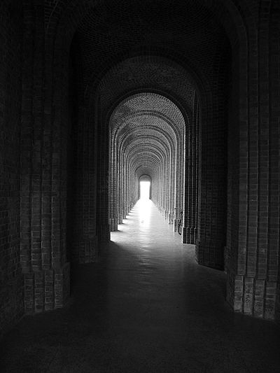 India To The Future Arch Architecture Built Structure Day Indoors  Light At The End Of The Tunnel No People The Way Forward Travel Destinations Tunnel Black And White Friday