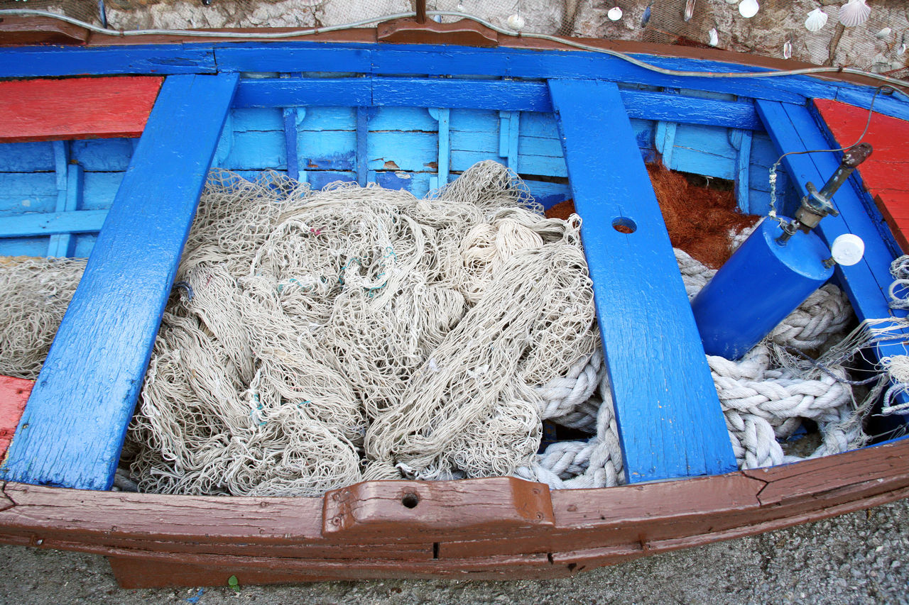 Icici,Adriatic coast,before the summer season,Croatia,Europe,23 Adriatic Coast Before Summer Season Blue Craftmanship Day Decoration Eu Europe Fancy Fishing Equipment Fishing Net Icici Kvarner Bay Old Boat Outdoors Painted Peaceful Sea Tranquility Waiting Wood - Material