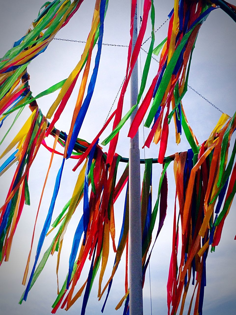 Low Angle View Of Multi Colored Ribbons Hanging On Metal