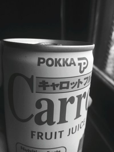 Text Close-up No People Day Carrot Juice Juice In Can