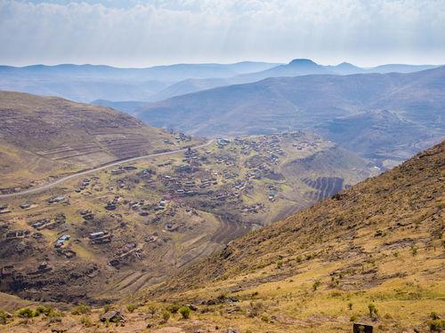 Arid Landscape Lesotho Mountain Range Africa Mountain Mountain Pass Road Curvy Offroad Pass