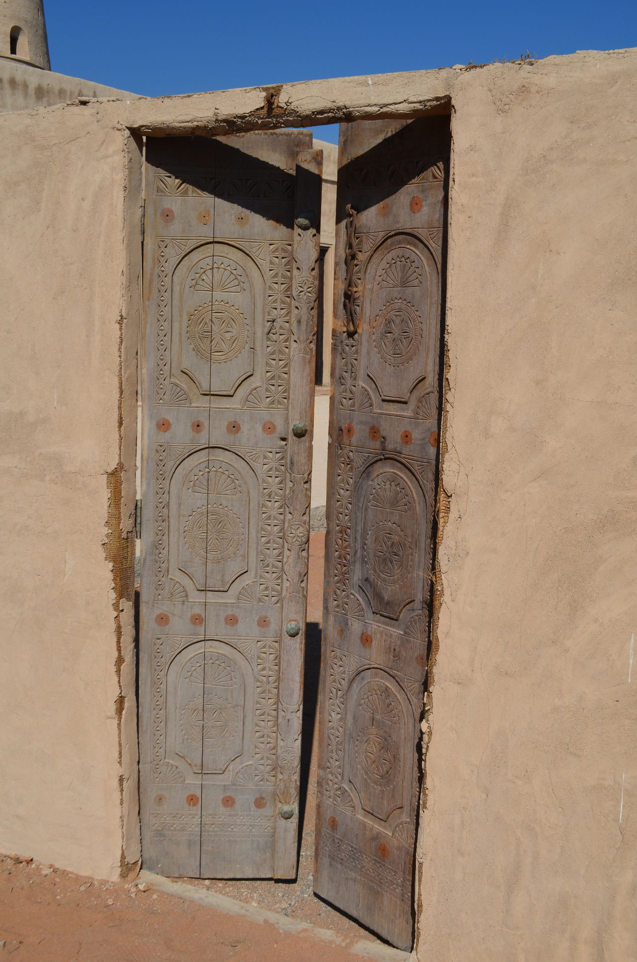 Fujairah Fort Abandoned Architecture Building Exterior Built Structure Carving Day Desolate Detail Details Door Fort Fujairah Historical Building History Lonely No People Outdoors UAE United Arab Emirates Wood