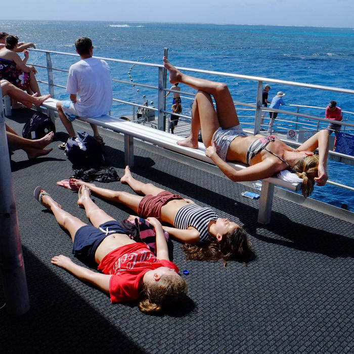 Getting Sunburnt Really Skin Cancer Sun Cream Top Deck Of A Boat Tourists