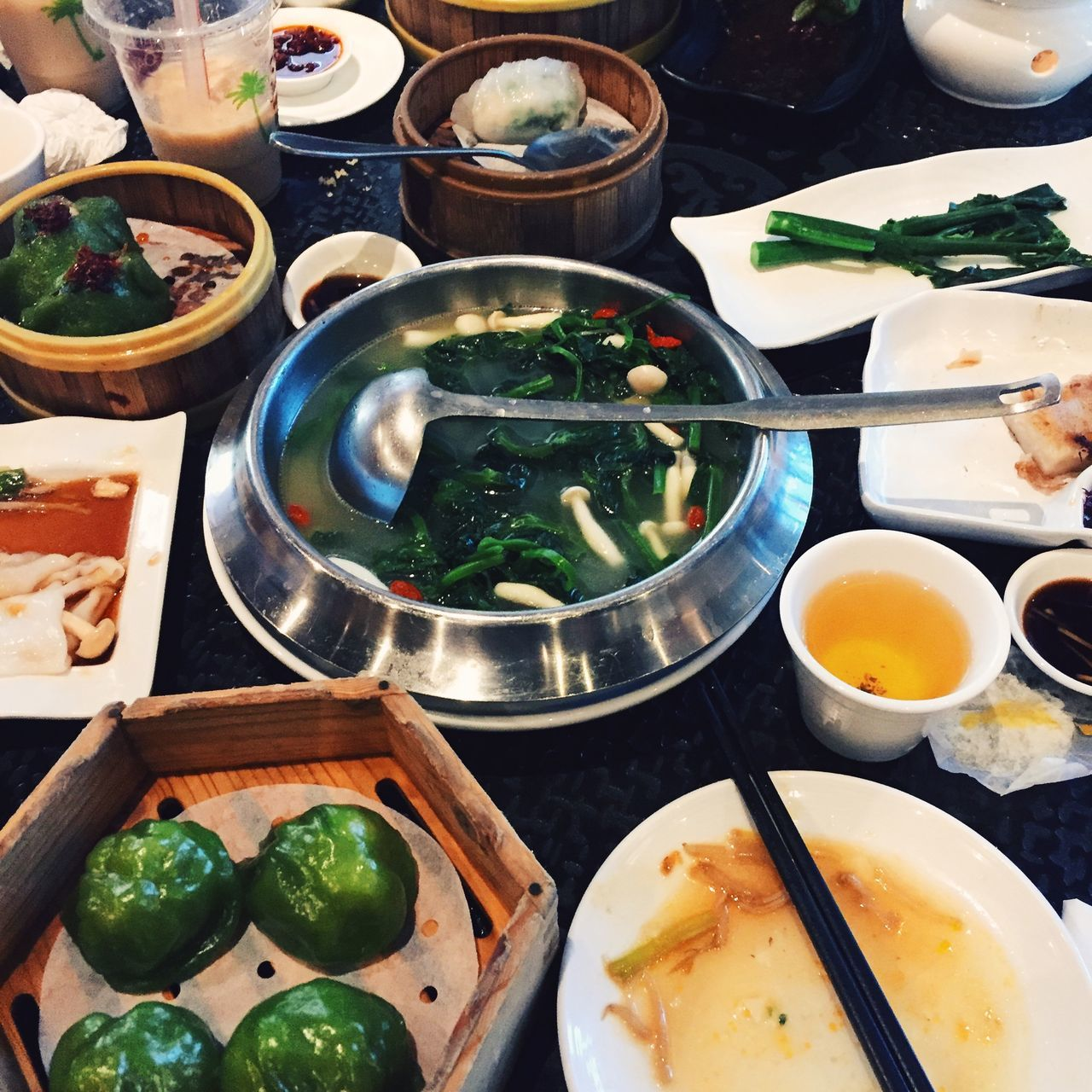 Dim Sum table at restaurant in San Francisco, USA. Bowl California Day Dim Sum Dim Sum Restaurant Dining Eating Food Food And Drink Freshness Healthy Eating High Angle View Indoors  IPhone IPhoneography Lunch No People Ready-to-eat San Francisco Square USA Vegetables